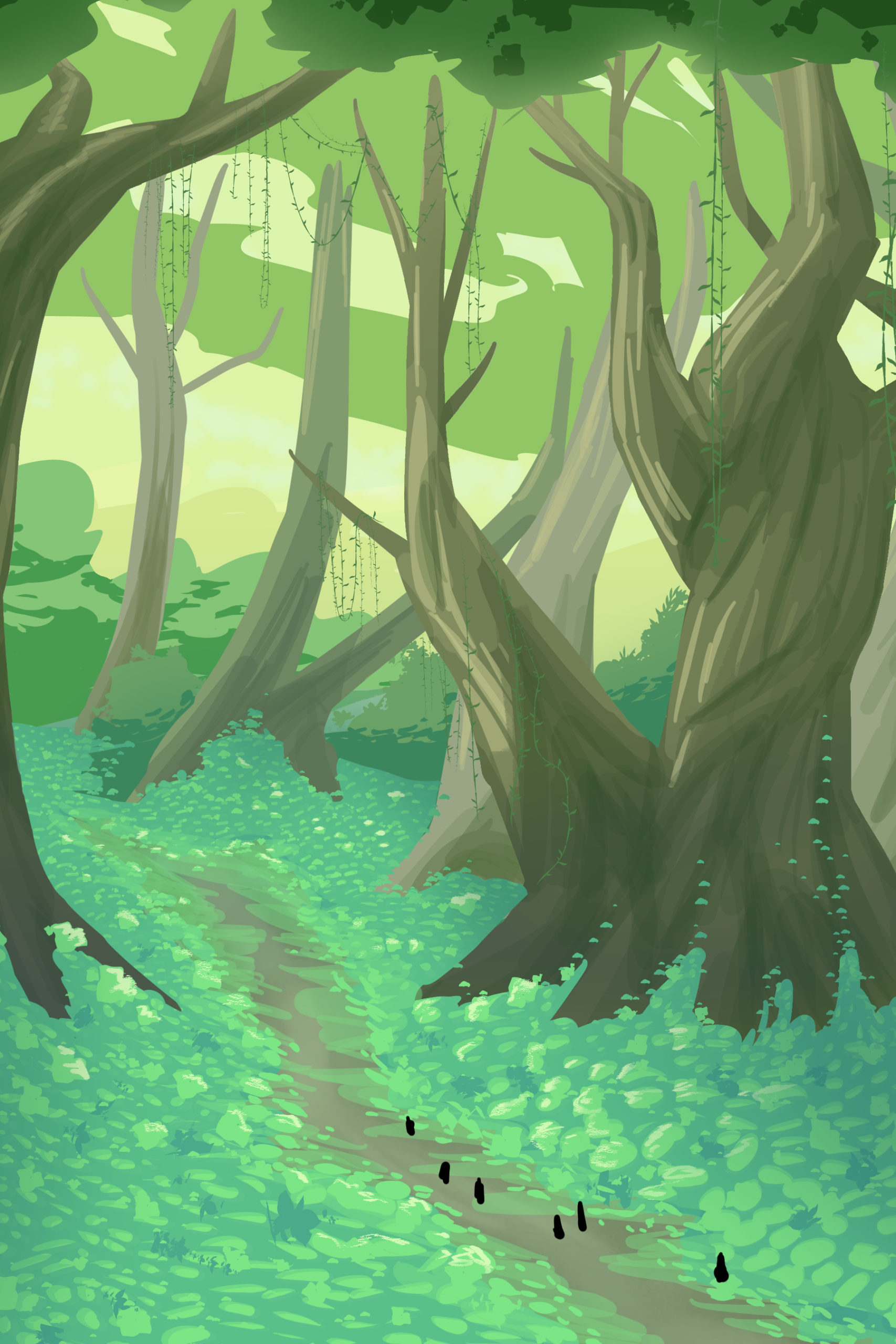 Funny how taking a step back to see the big picture puts everything in perspective.. like how you forgot to draw fallen trees on the ground. Or how the larger trees are missing cast shadows. Or--
